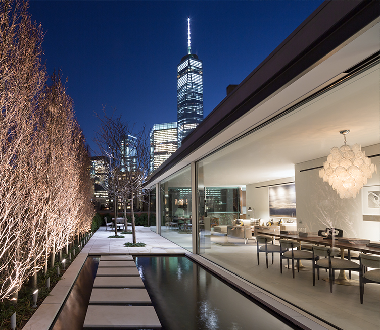 Exterior view of Manhattan Penthouse with oversized Insulated Glass Units