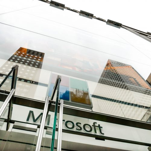 Close up exterior view of Microsoft's flagship store, glass facade with oversize laminates.