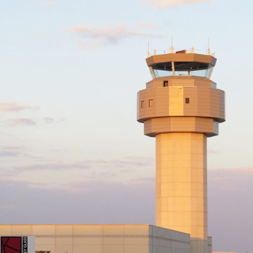Exterior shot of the Sarasota Airport Control Tower, including oversized, laminated trapezoids