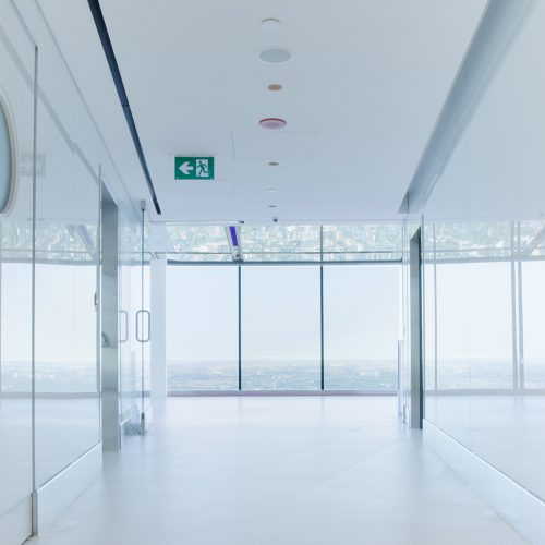 CN Tower Hallway: AGNORA has fabricated the interior walls, over 150, digitally printed, 6 ml, monolithic panels.