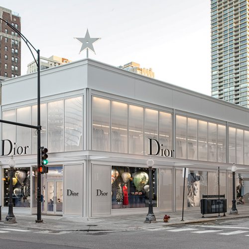 "Exterior, street view of Dior flagship in Chicago, AGNORA fabricated Insulated Glass Units up to 146"" in length, laminated, tempered, and digitally-printed."
