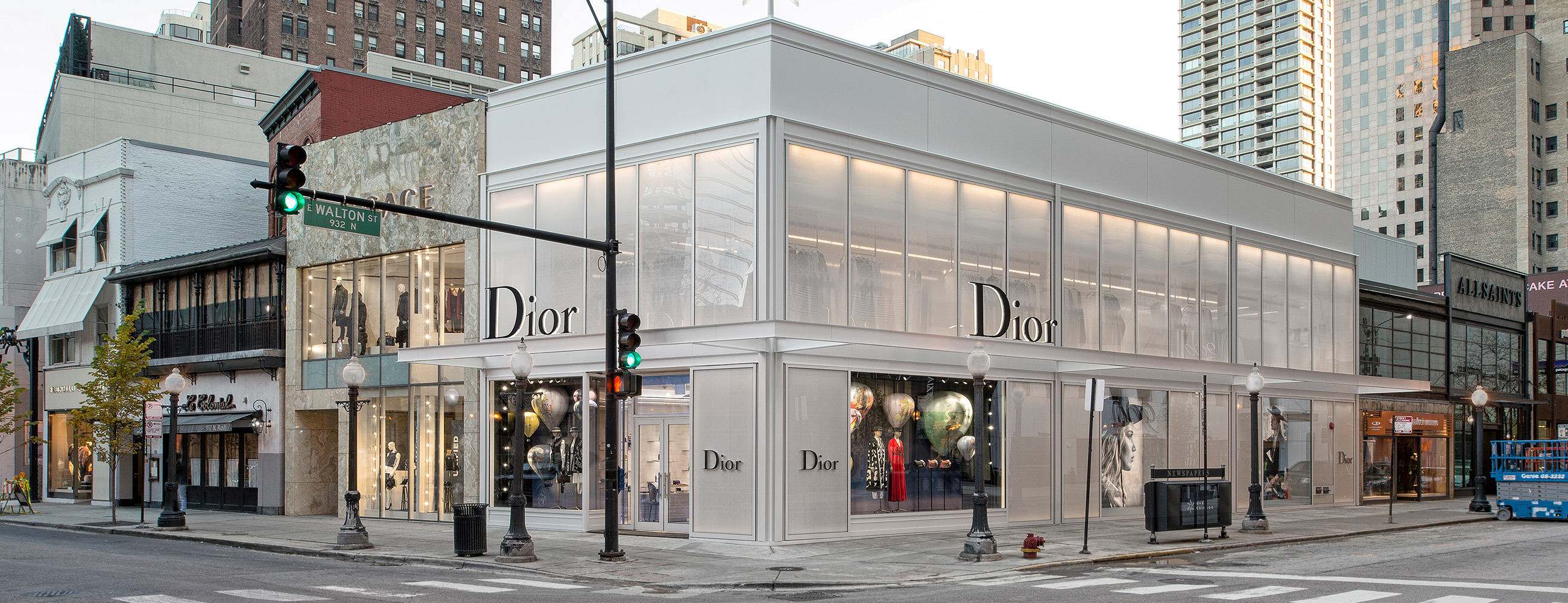Exterior, street view of Dior flagship in Chicago, AGNORA fabricated Insulated Glass Units up to 146